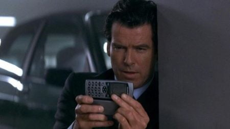 James Bond uses his trick phone in Tomorrow Never Dies.