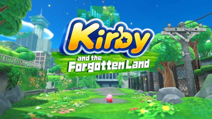 Kirby and the Forgotten Lands landing screen.
