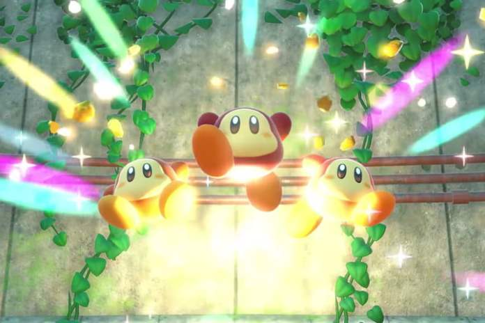 Kirby and the three Waddles escape from a cage in the Forgotten Lands.