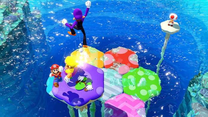 Mario Party players roll snowballs in Mario Party Superstars.