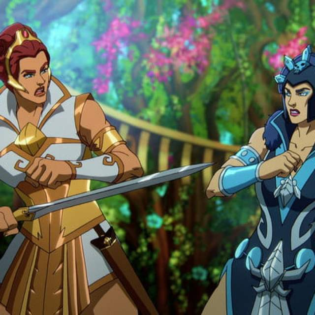 Teela and Evil-Lyn in Masters of the Universe: Revelation.