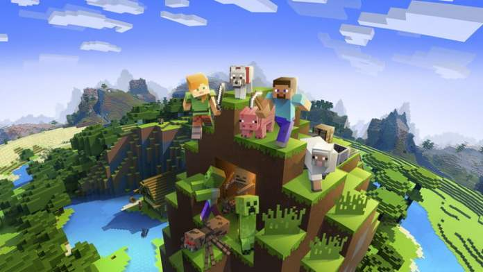 Minecraft characters on a mountain.