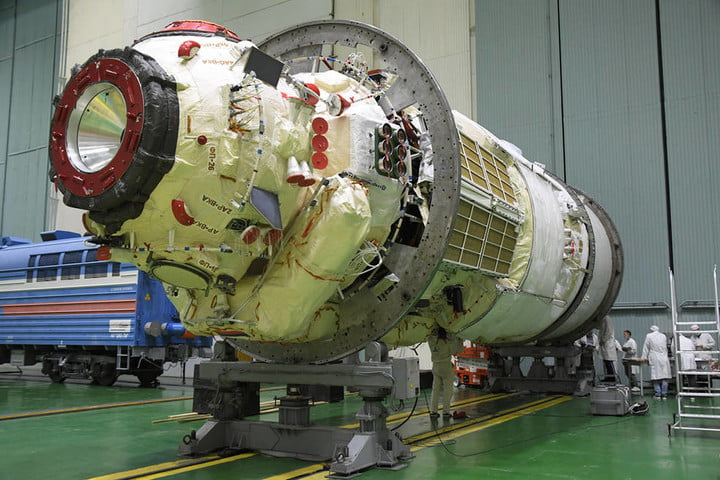 The Nauka Multipurpose Laboratory Module undergoes final processing at the Baikonur Cosmodrome in Kazakhstan in preparation for its launch to the International Space Station on a Proton rocket.