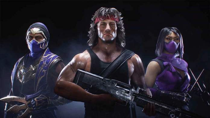 Three fighters including Rambo from Mortal Kombat 11.