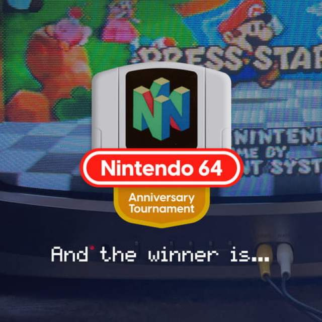 """N64 tournament Winner badge with text that reads """"And the winner is..."""""""