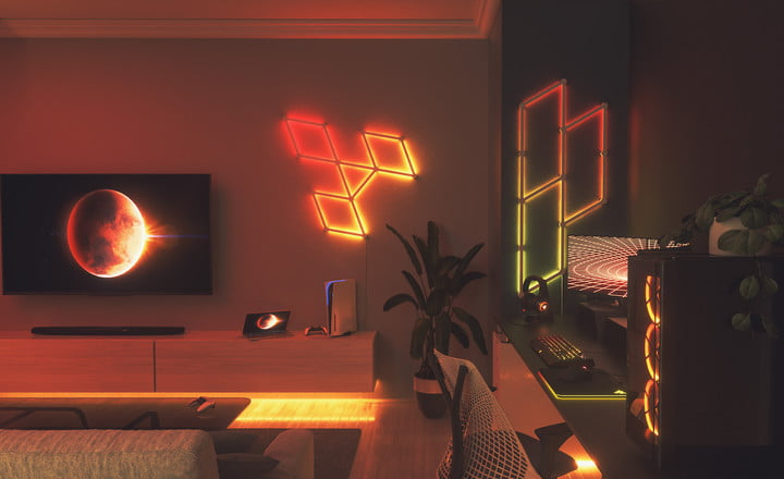 Nanoleaf lines placed on the wall.