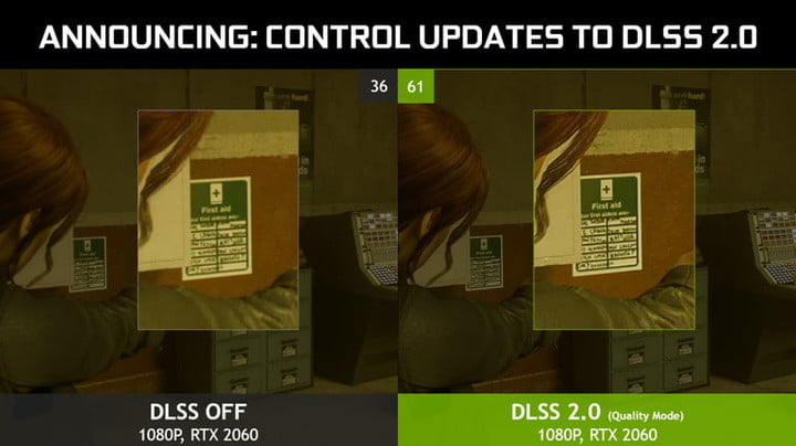A demonstration of DLSS in Control.