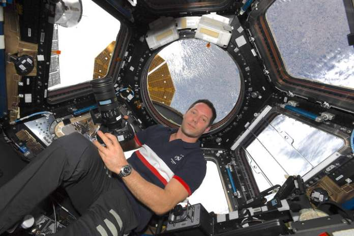 Astronaut Thomas Pesquet in the Observation Module of the International Space Station.