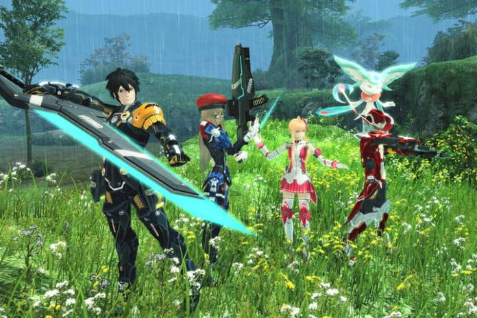 Fighters ready in a field in Phantasy Star Online 2.