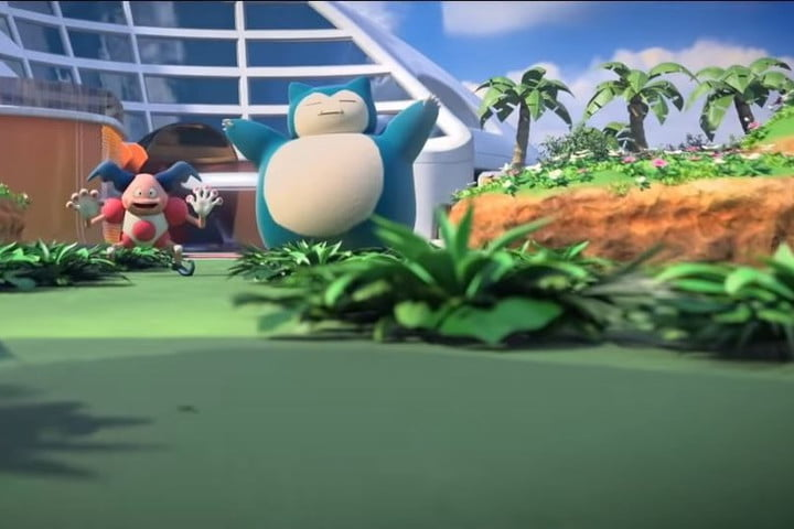 Mr. Mime and Snorlax hang out on the battlefield in Pokémon Unite.