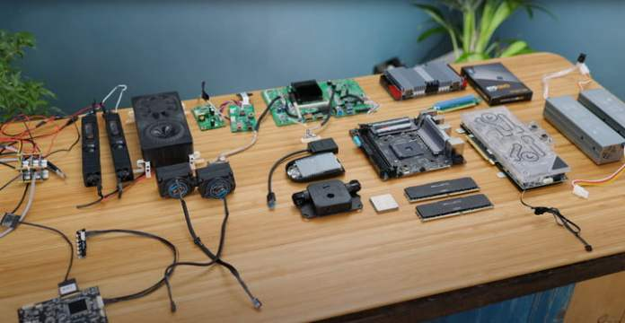 The individual components, taken apart from the DIY Portable All-In-One PC.