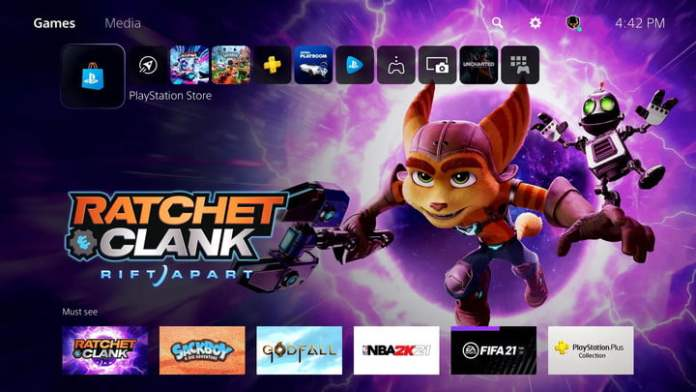 Ratchet and Clank on the PS5 home screen.