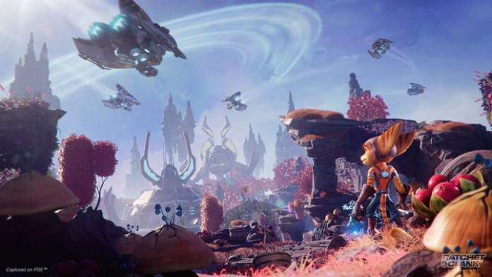 Ratchet sees a planet in Ratchet and Clank: Rift Apart.