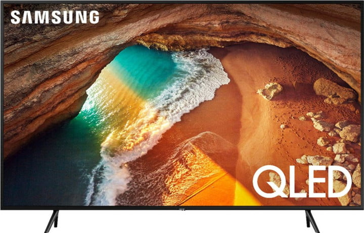 A 60-inch Samsung QLED 4K TV with a landscape view on the screen.