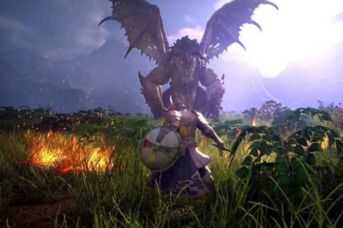 A player stands down a dragon in Bless Unleashed.