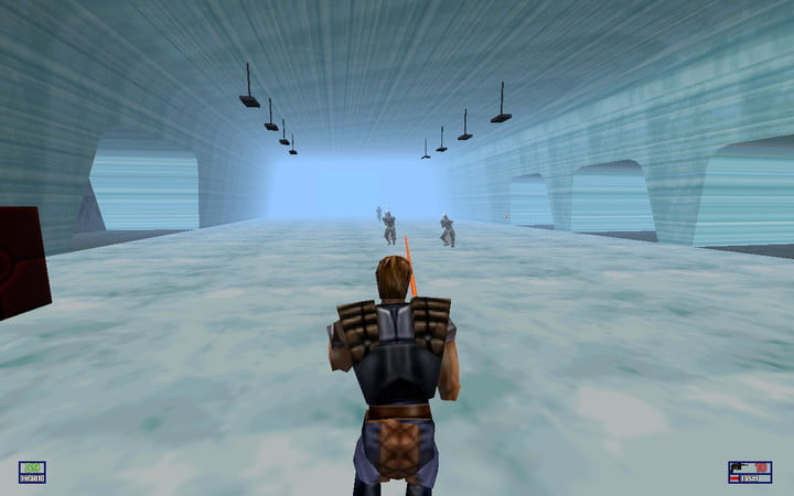 Dash Rendar shoots at Empire soldiers in Star Wars: Shadows Of The Empire.