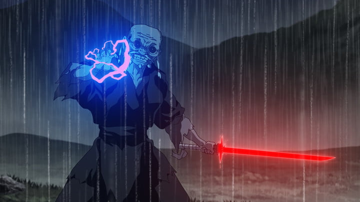 A scene from Star Wars: Visions series episode titled The Elder.