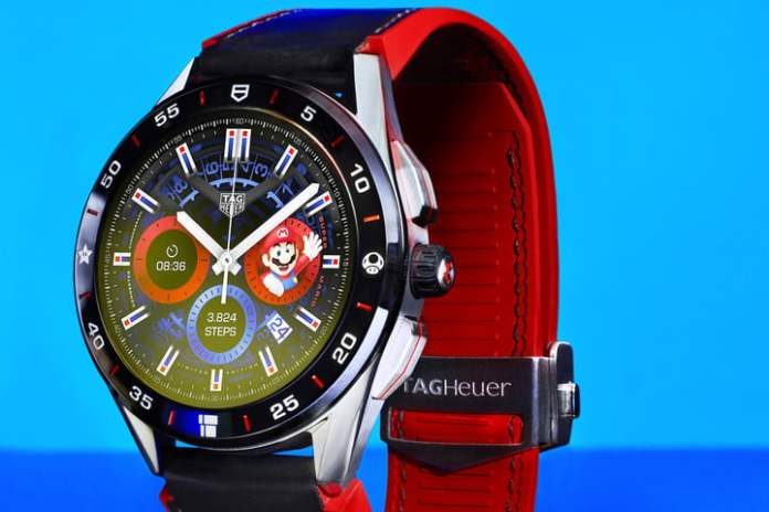Close-up of the Tag Heuer X Super Mario smartwatch.