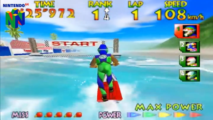 A player nears the finish line in Wave Race 64.