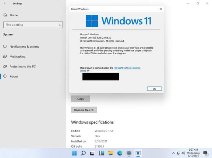Leaked screenshot of Windows 11 SE posted by Twitter user @fakirmeditation