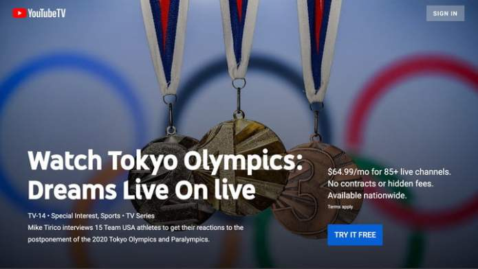 YouTube TV Tokyo Olympics channel.