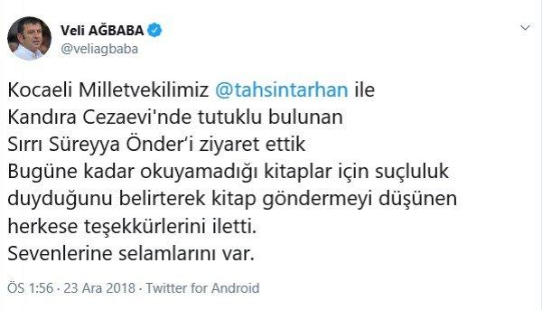 CHP'liler yine Sırrı Süreyya'yı ziyaret etti