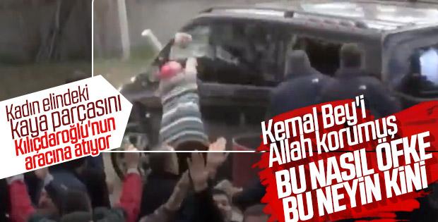 Image result for Çubuk'ta Kılıçdaroğlu'nun arabasına taş atan kadın
