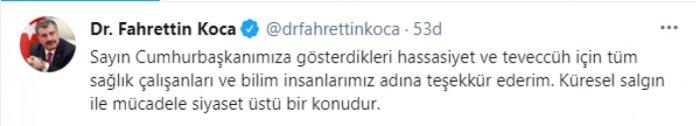 Fahrettin Koca'dan Cumhurbaşkanı Erdoğan'a teşekkür #1
