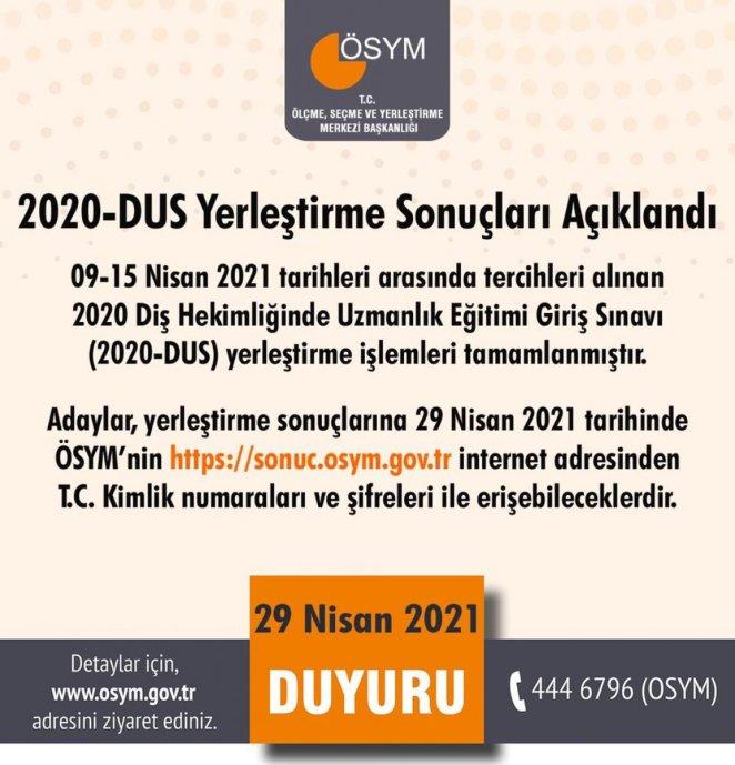 DUS yerleştirme sonuçları açıklandı mı? 2020 DUS yerleştirme sonuç sorgulama ekranı #1