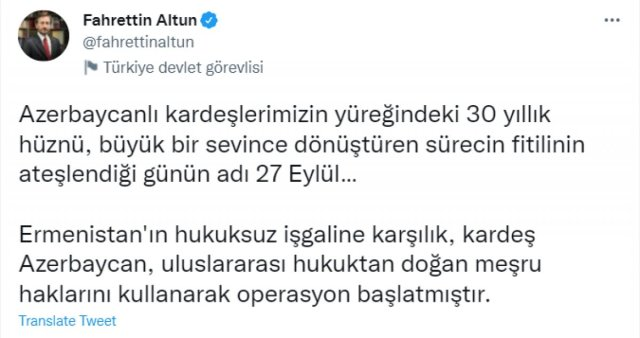 Fahrettin Altun'dan 2. Karabağ Savaşı paylaşımı #2