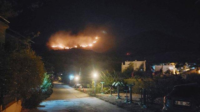Bodrum da otluk ve makilik alanda yangın çıktı #1