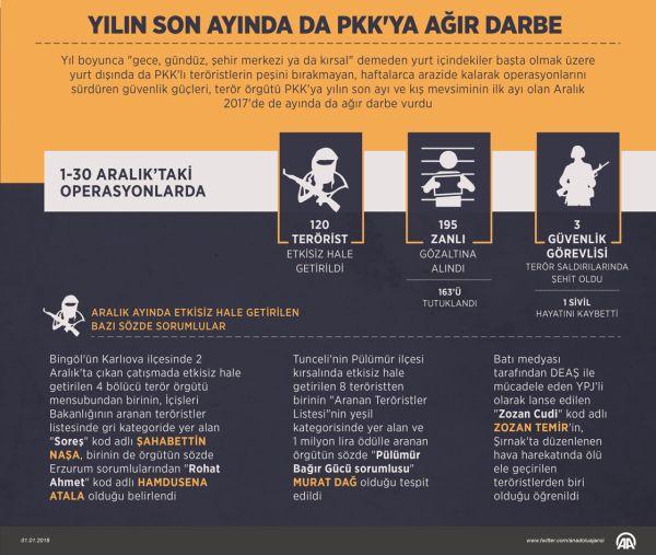 TSK'dan PKK'ya 2017'de ağır darbe