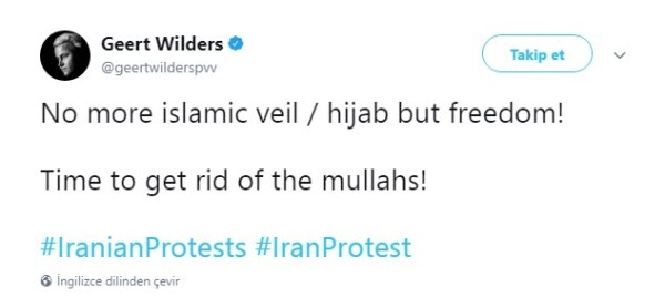 İslam karşıtı Wilders'ten İran ayaklanmasına destek