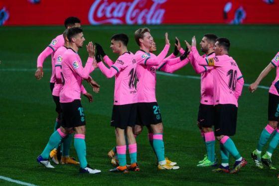Barcelona footballers celebrate