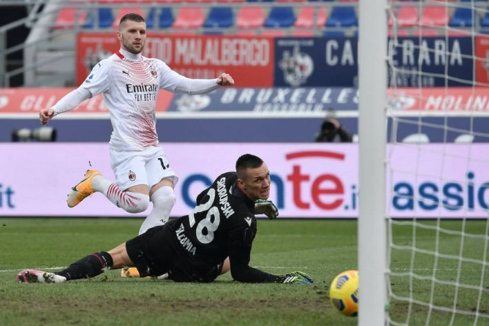 Ante Rebic of Milan scores the 0-1 goal during the Serie A football match between Bologna FC and AC Milan at Renato Dall Ara stadium in Bologna Italy, January 30th, 2021. Photo Andrea Staccioli / Insidefoto andreaxstaccioli