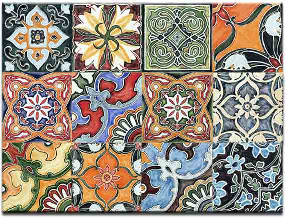 hand painted moroccan ceramic tile texing