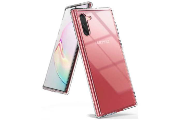 Photo shows the front and back of a Samsung Galaxy Note 10 phone in a clear Ringke Fusion case