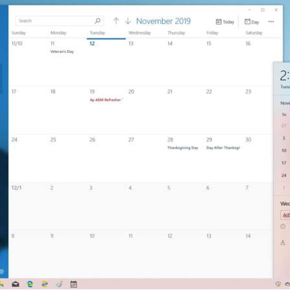 Windows 10 19h2更新Taslkbar 2019年11月