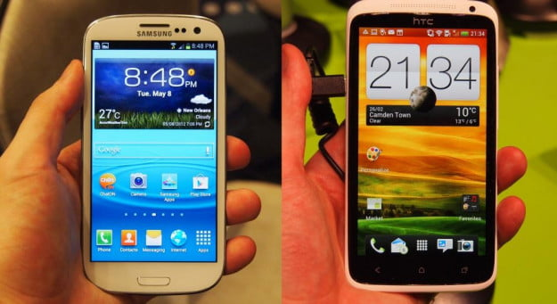Samsung Galaxy S3 and HTC One X homescreen comparison