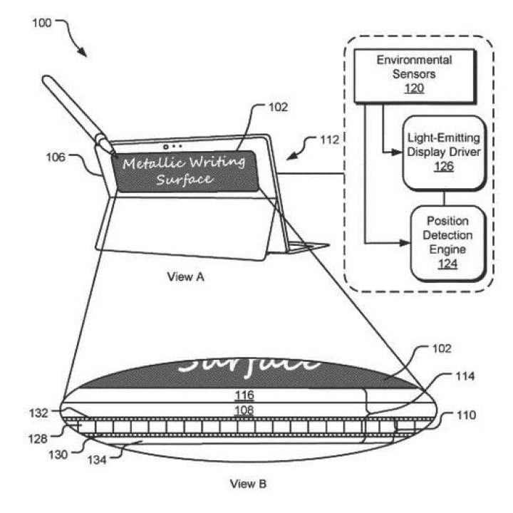 superficie del display touch riflettente microsoft patent