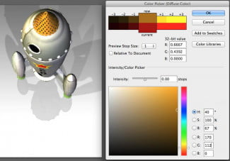 Using Photoshop CC as a finishing tool, you can apply colors to a 3D model using the new 3D menu options.