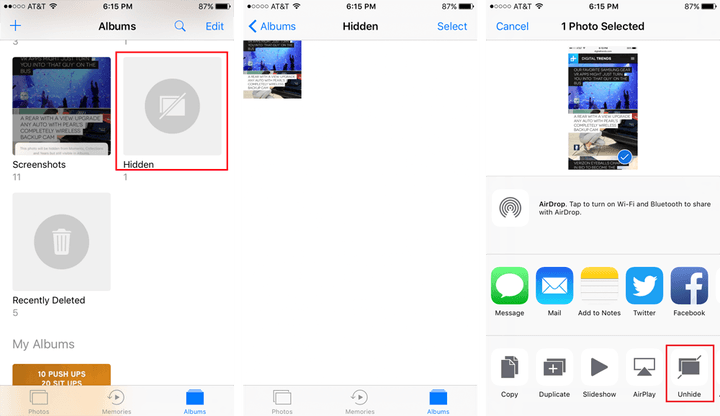Unhide photos on your iPhone
