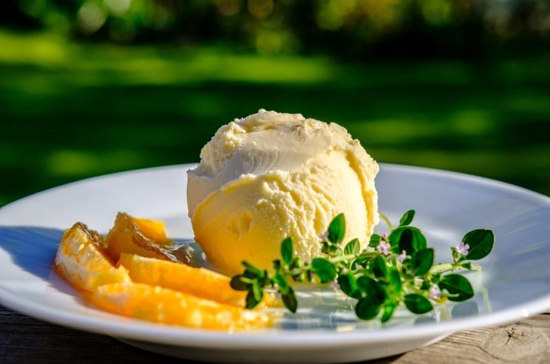 Orange Thyme Crème Fraiche Ice Cream