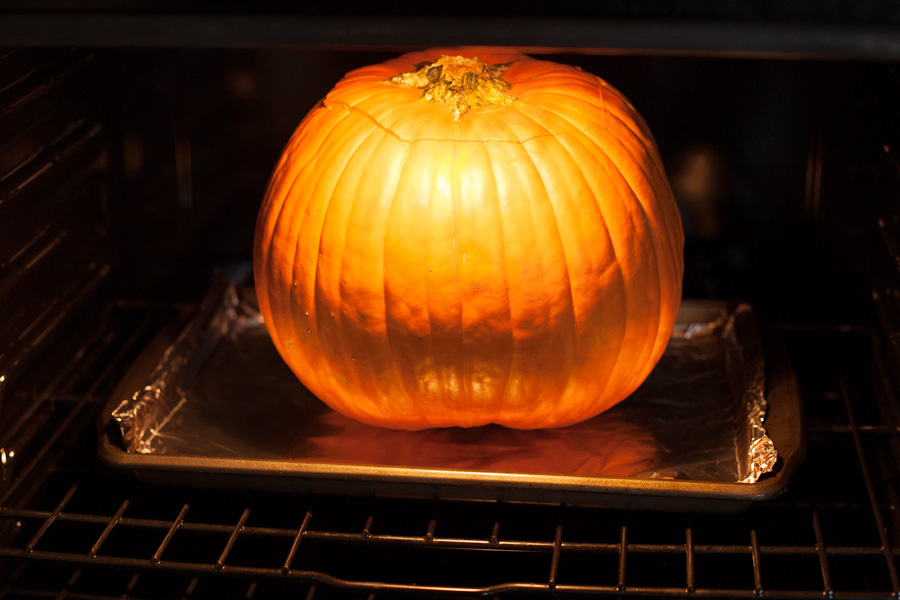It's easy to make your own pumpkin puree. It just involves your oven, a blender, a little time, and maybe a really big knife.