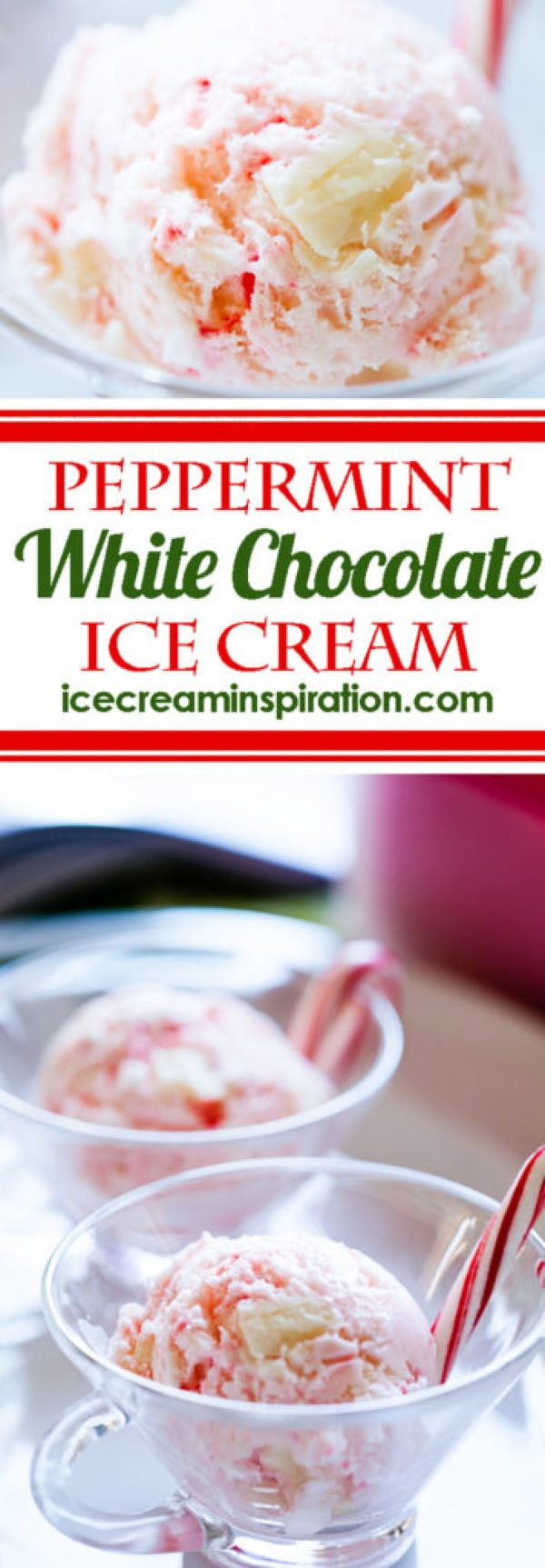 This Peppermint White Chocolate Ice Cream is the perfect way to use up all those candy canes. Add some white chocolate, and you have a truly special flavor of ice cream! Peppermint ice cream, mint ice cream, homemade mint ice cream, Christmas ice cream.