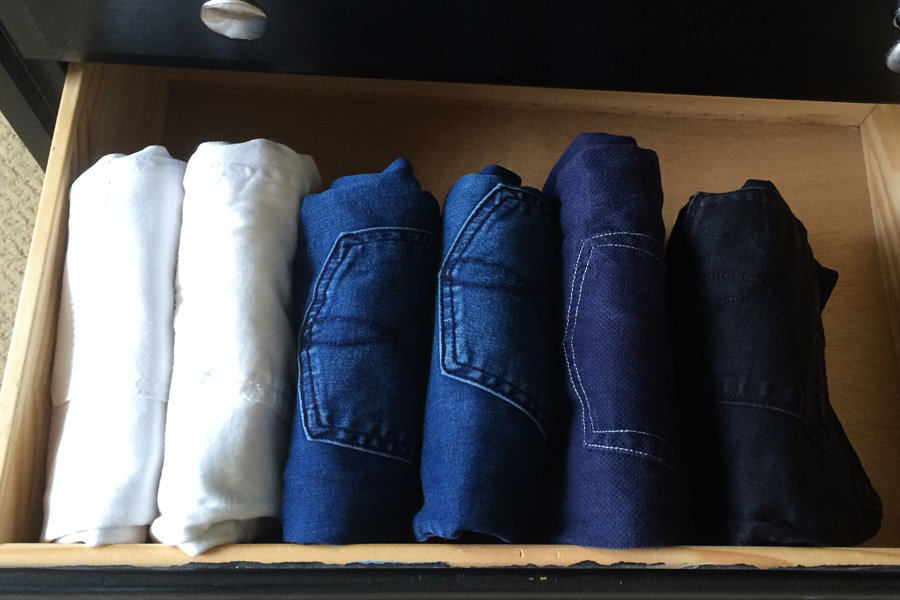 Do you know how to fold and store your jeans so you can tell at a glance exactly what you have? Learn the KonMari method of organization for your clothes and make laundry FUN!