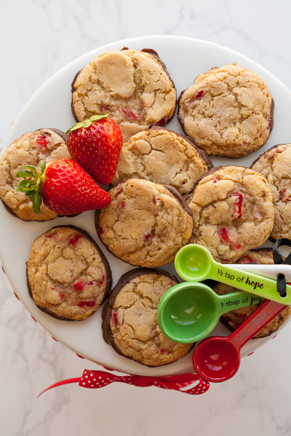 Chocolate Strawberry Cookies for Valentine's Day.