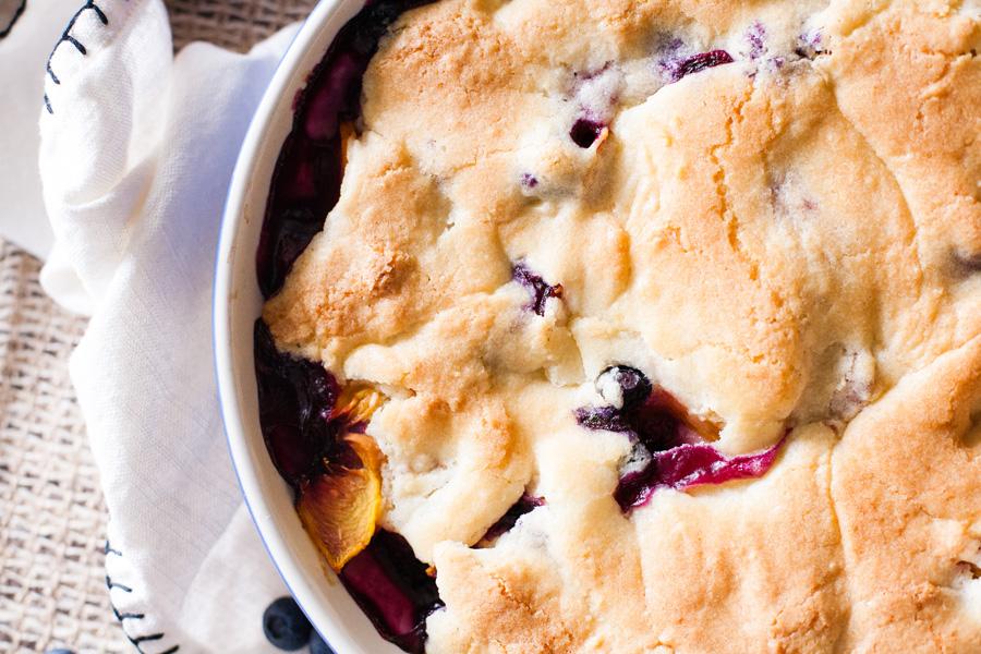 Crustless Peach Blueberry Pie by Ice Cream Inspiration