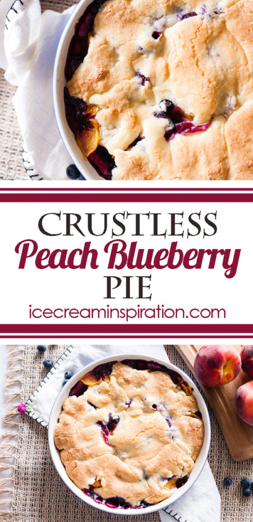Don't worry about the crust with this Crustless Peach Blueberry Pie. Peaches and blueberries meld into a gorgeous purple color with a crispy crust on top.