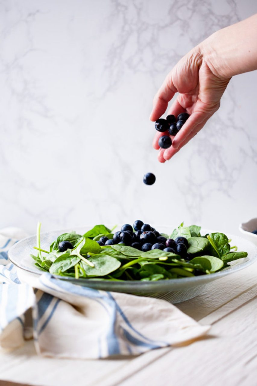 Spinach Blueberry Salad with Orange Poppy Seed Dressing.